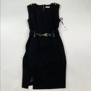 Calvin Klein Black Sleeveless Belt Dress